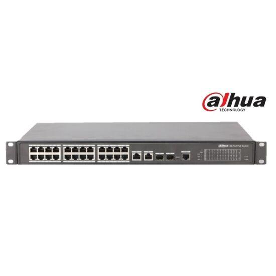 Dahua PFS4226-24ET-240 menedzselhető PoE switch, 24x 10/100 PoE/PoE+ (240W) + 2x gigabit/SFP combo uplink, HighPoE(1,2)