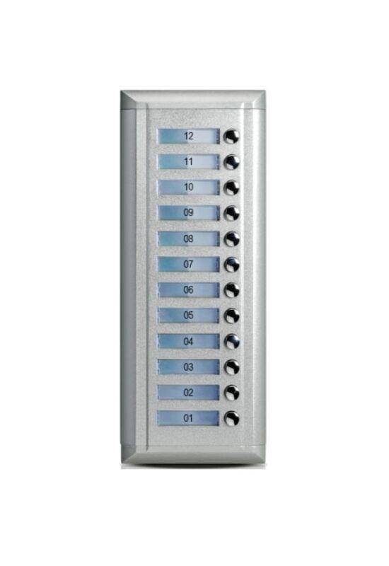 V-TEK Bővítőpanel - többlakásos rendszerekhez, 12 gombos